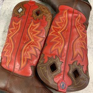 Tony Lama, cowboy boots, men's size US 12D, red